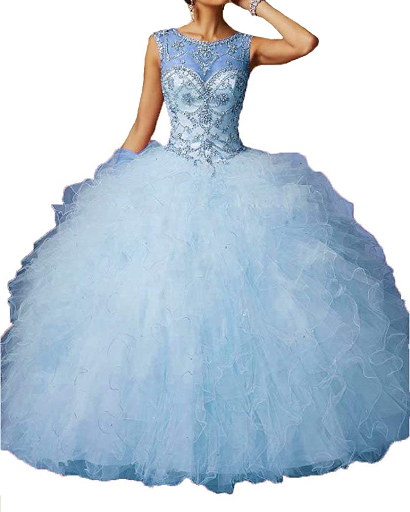 Ugly Women S Sheer Quinceanera Ball Gowns Crystals Long