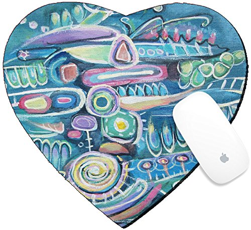 Luxlady Mousepad Heart Shaped Mouse Pads/Mat design IMAGE ID: 42246601 Abstract acrylic painting Canvas Bouquet of flowers Sea background Blooming peas Turquoise col