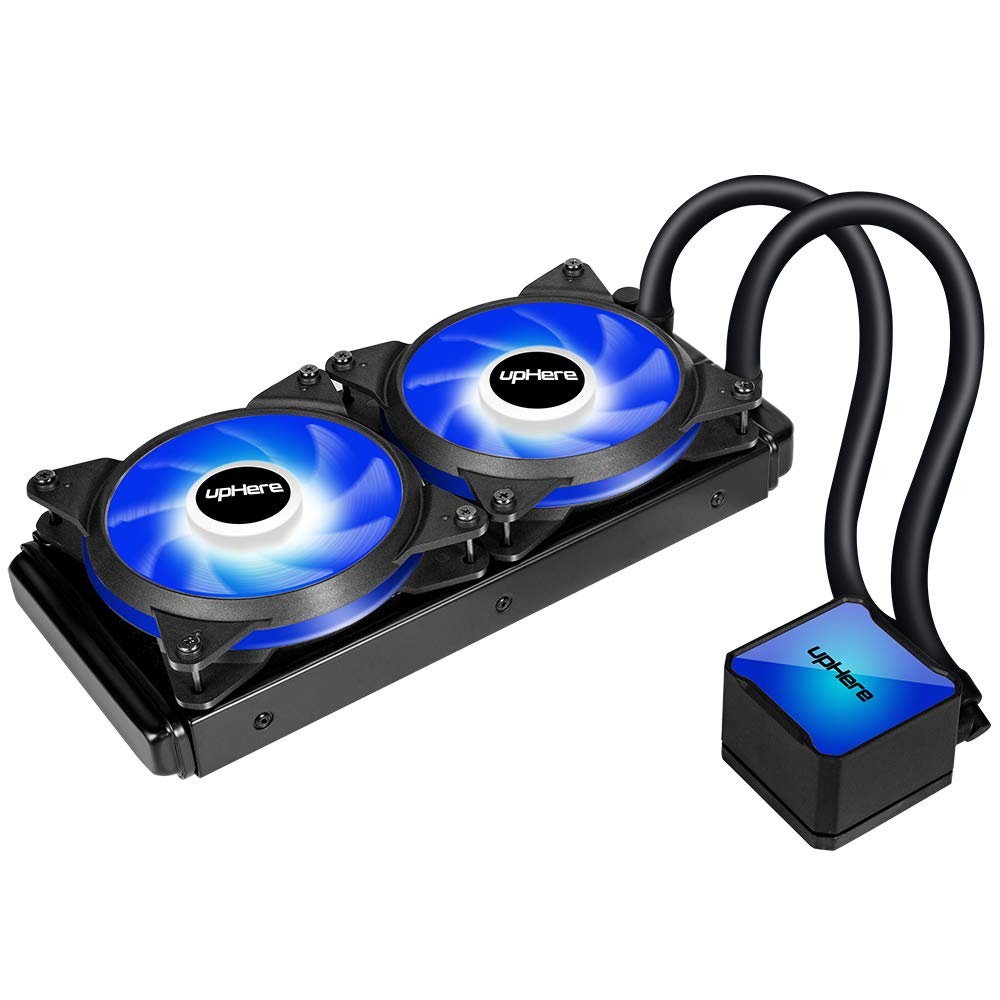 upHere Technology All-in-One High Performance Water Liquid CPU Cooler with Dual Adjustable 240mm PWM Fan,Blue LED (AM4 Compatible) CC2402