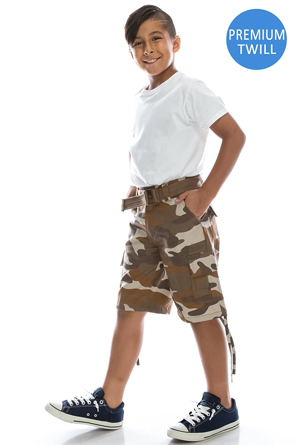 JC DISTRO Boys Hipster Hip Hop Belted Heavyweight Twill Cargo Shorts