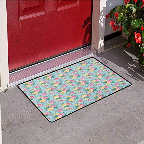 (GloriaJohnson Shabby Chic Front Door mat Carpet Colorful Roses Vegetation in The Summer with Leaves Bridal Machine Washable Door mat W23.6 x L35.4 Inch Pale Pink Yellow Turquoise)