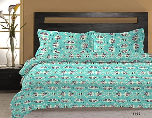 Bombay Dyeing 120 TC Polycotton Double Bedsheet with 2 Pillow Covers – Blue