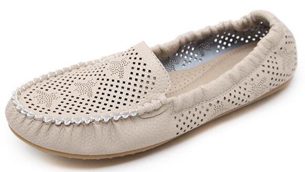 IDIFU Women's Comfy Perforated Soft Bottom Flats Round Toe Low Top Slip On Loafers Shoes (Beige, 8.5 B(M) US)