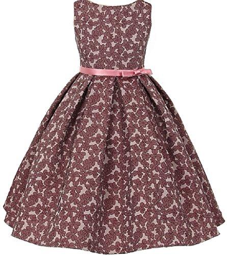 Round Pleated Skirt (Sleeveless Floral Jacquard Pleated Skirt Little Girl Flower Girl Dress Rose 6)
