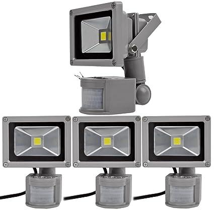 4pcs 10W Foco LED con Sensor Movimiento,ALPHA DIMA Foco Proyector con Iluminación LED y