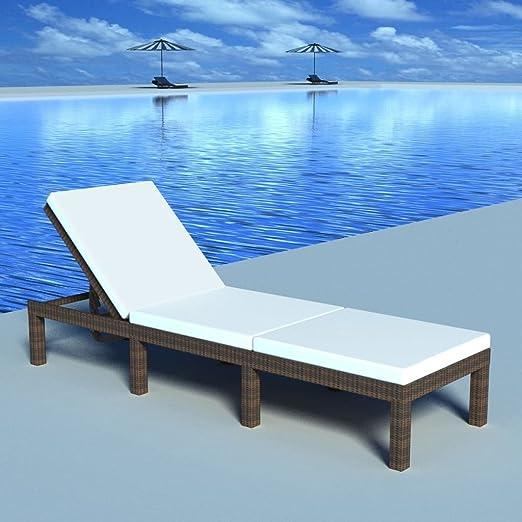 donen - Muebles de jardín, asientos de exterior, tumbona, regulable, con cojín marrón, resina trenzada, color del cojín: blanco crema, tumbona: Amazon.es: Hogar