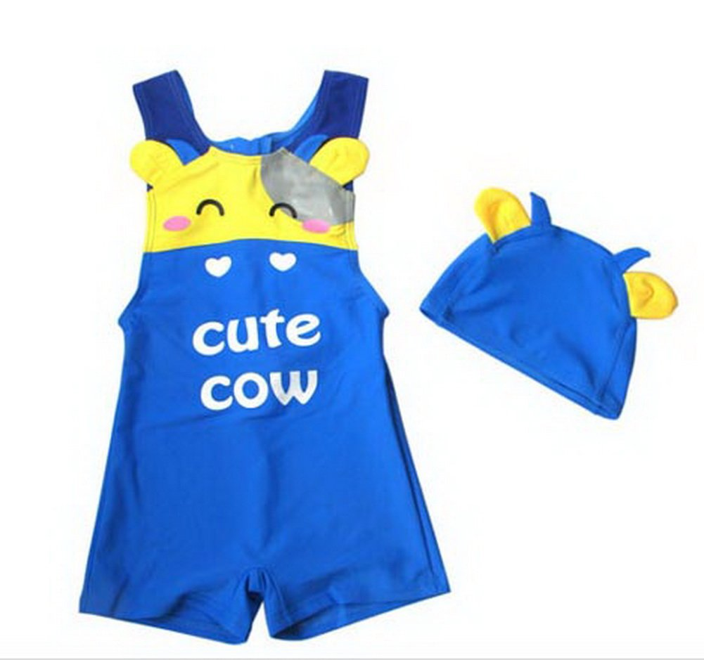 Panda Superstore Cute Cow Boys Body Suits 2 Pcs Swimsuits, 5T, 3-4 Years Old Boy, BLUE