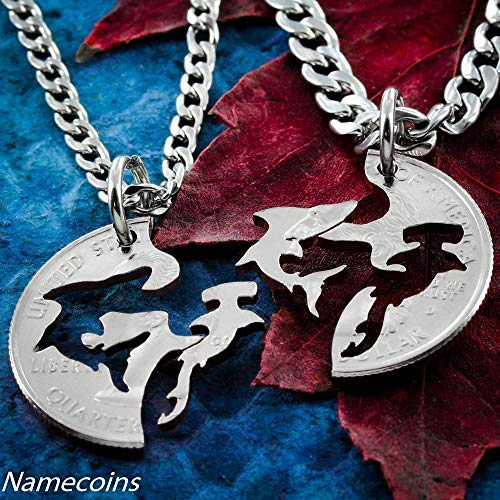 Shark Necklaces, Hammerhead and Shark Interlocking jewelry, Hand cut coin, By NameCoins