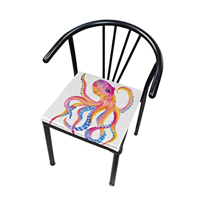 """Bardic HNTGHX Outdoor/Indoor Chair Cushion Colorful Octopus Painting Square Memory Foam Seat Pads Cushion for Patio Dining, 16"""" x 16"""": Home & Kitchen"""