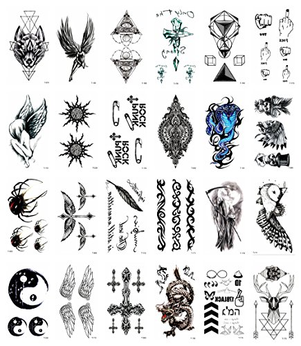 24 sheets ying yang owl angel wing dragon cross temporary tattoo tramp stamp cover up ideas halloween costume face (6 Person Costume Ideas)