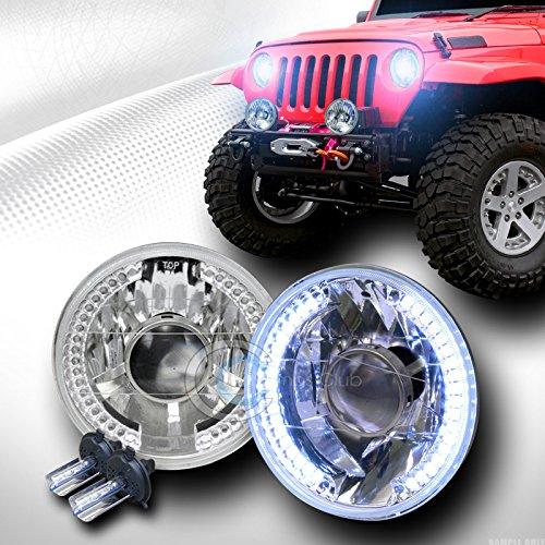 8000K HID XENON H4+7'' ROUND CHROME WHITE LED HALO PROJECTOR HEAD LIGHTS LAMP CA1 by Autobotusa