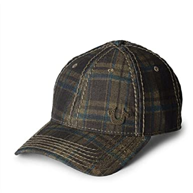 c39e5d5ca70 Amazon.com  True Religion Men s Check Denim Baseball Cap (One Size ...