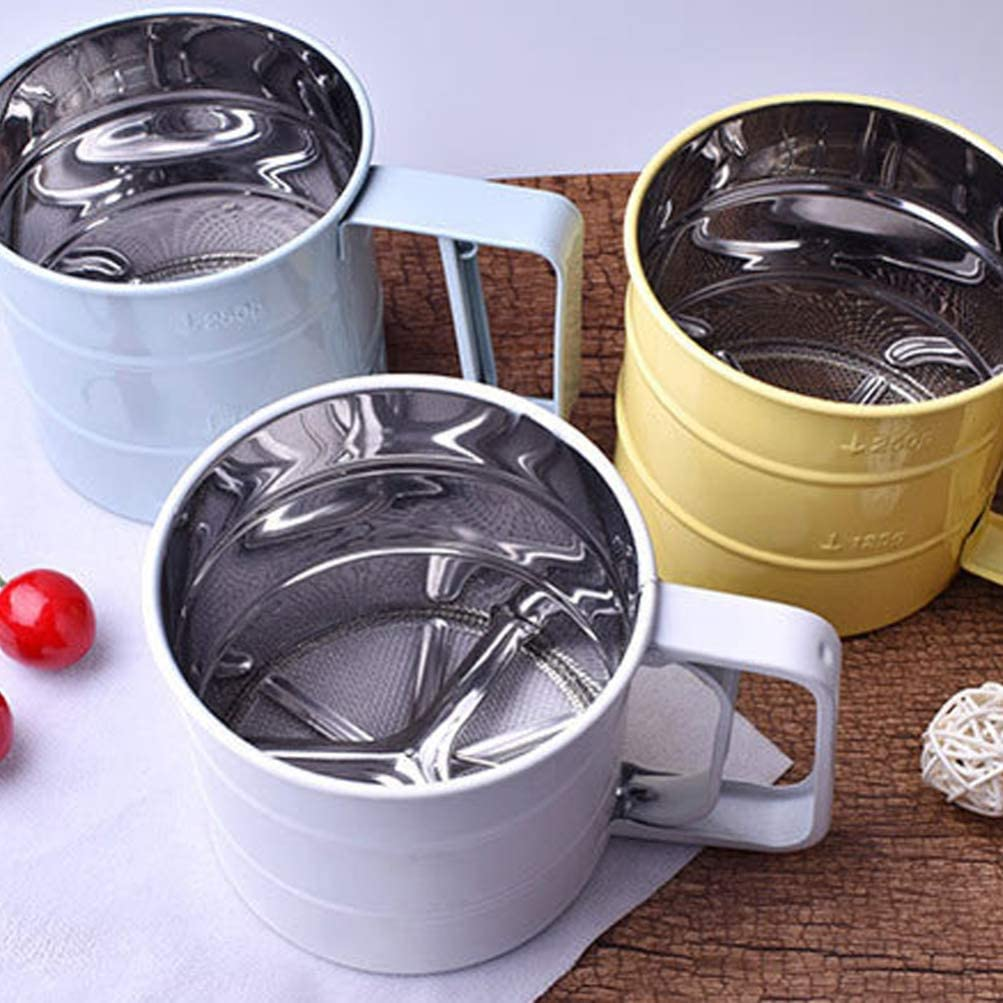 Random Color Cabilock Flour Sifter Cup Stainless steel Baking Hand Flour Sifter Powder Flour Mesh Sifter Kitchen Baking Tool for Home Daily Use