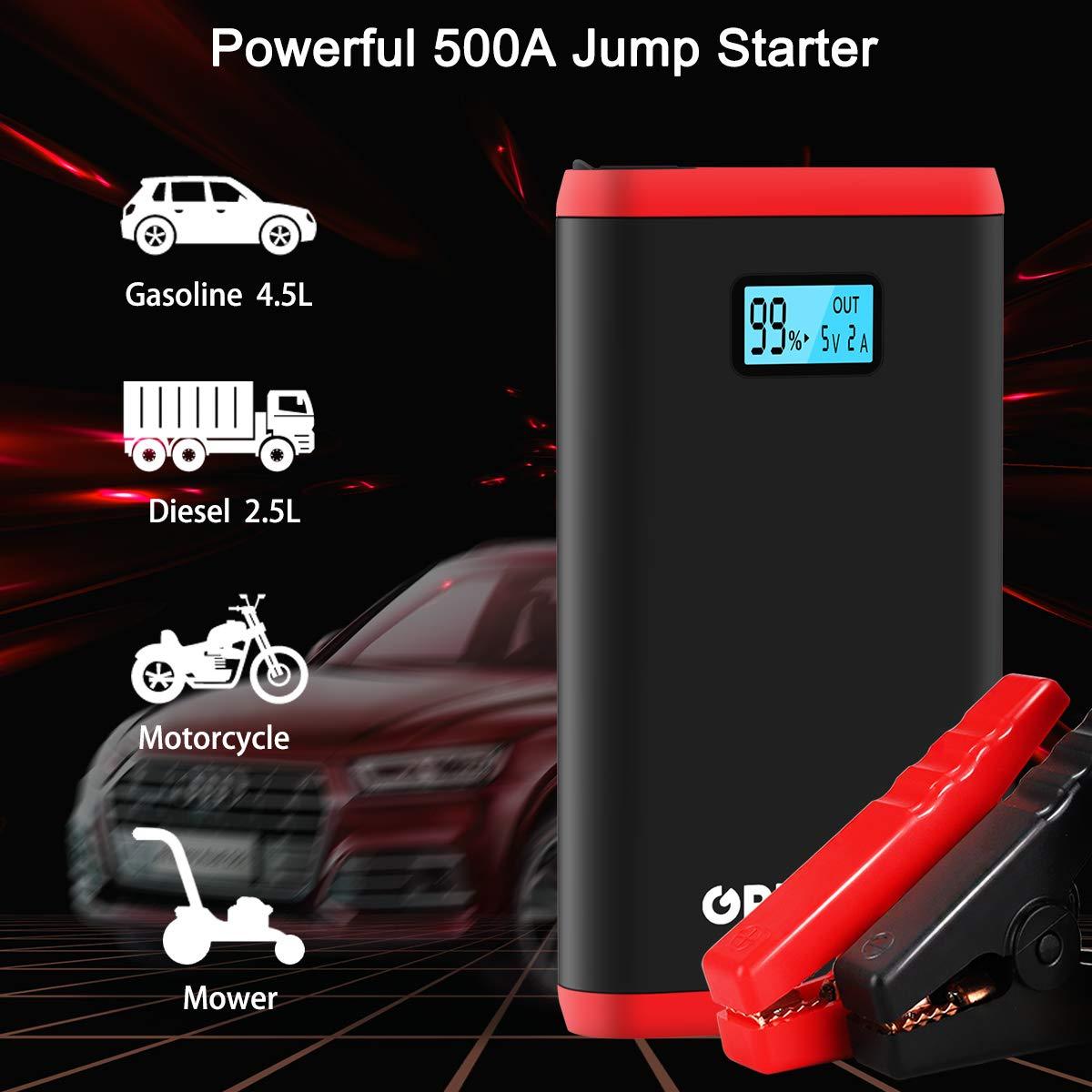 GREPRO Avviatore per Auto 500A Jump Starter Diesel per Veicoli di 12V Il Veicolo a Benzina Raggiunge 4.5L e Il Veicolo Diesel Raggiunge 2.5L Avviamento dEmergenza Batteria Auto