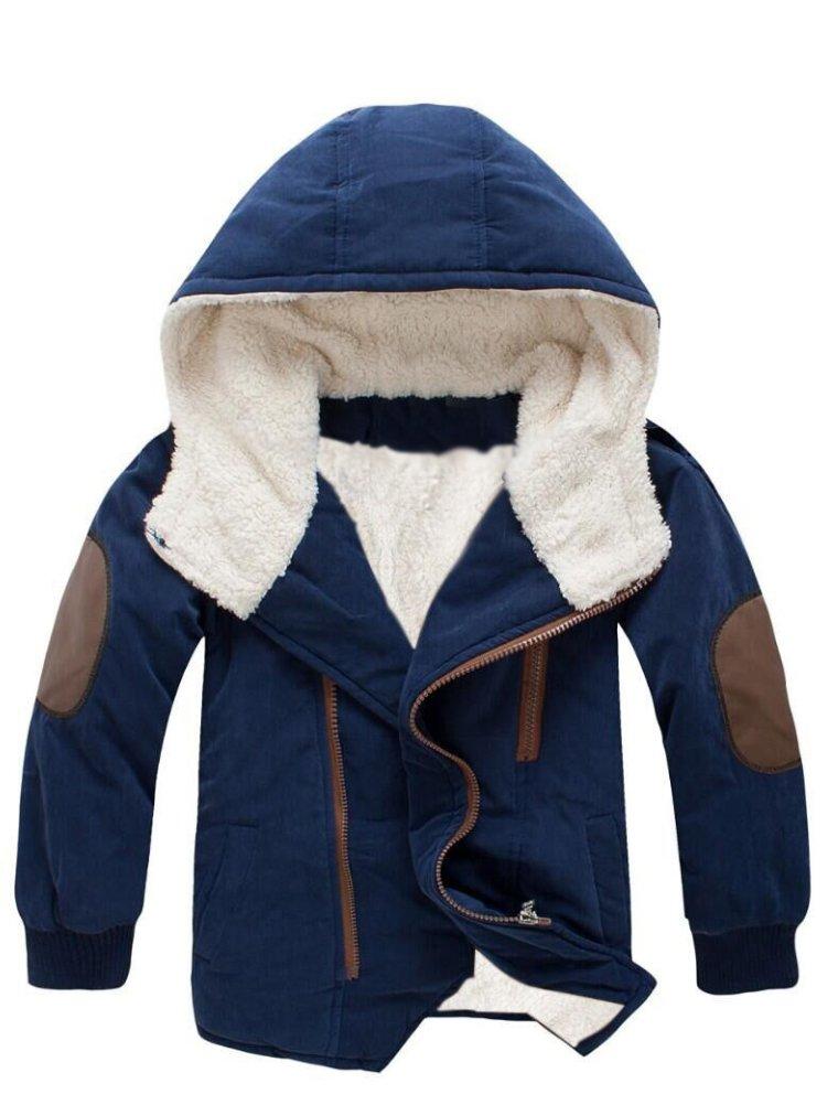 Mallimoda Boy's Thick Cotton-Padded Parka Jacket Hooded Fleece Coat Navy 2-3 Years