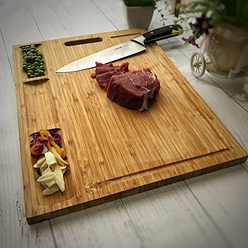 Venfon Large Organic Bamboo Cutting Board For Kitchen, With 3 Built-In Compartments And Juice Grooves, Heavy Duty Chopping Board For Meats Bread Fruits, Butcher Block, Carving Board, BPA Free by Venfon