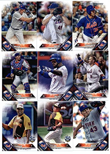 2016 Topps Update New York Mets Team Set of 15 Cards: Neil Walker(#US22), Jon Niese(#US37), Michael Conforto(#US43), Kelly Johnson(#US71), Brandon Nimmo(#US74), Jay Bruce(#US78), Asdrubal Cabrera(#US87), Rene Rivera(#US107), Bartolo Colon(#US126), Jose Reyes(#US132), Bartolo Colon(#US161), Addison Reed(#US170), Alejandro de Aza(#US238), Hansel Robles(#US293), Jeurys Familia(#US296)