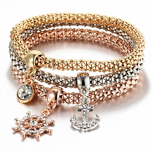 I's 3 Bracelets Multilayer Gold/Silver/Rose Gold Corn Chain Charms with Crystal Stretch Bracelet Set for Women (Anchor) ()