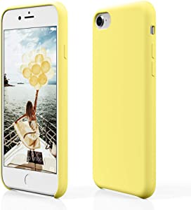 """pcgaga Silicone Case for iPhone SE 2020, Case for iPhone SE 2nd Generation, Slim Rubber Gel Phone Case Compatible with iPhone SE 2020/ iPhone 7/ iPhone 8, 4.7"""" (Yellow)"""