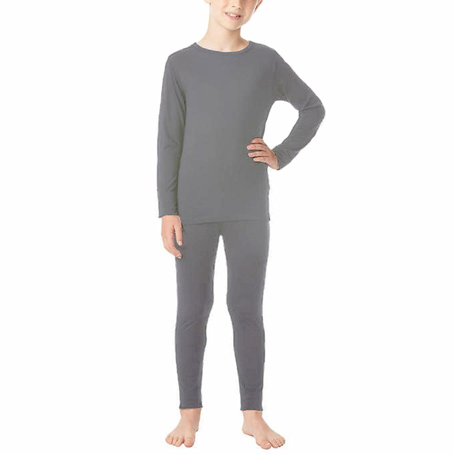32 Degrees Heat Boys Long Sleeve Crew Neck and Legging Set;Dark Heather Charcoal'Large(12-14)
