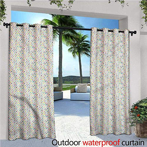 (warmfamily Colorful Exterior/Outside Curtains Diagonal Beaded Line Funky for Patio Light Block Heat Out Water Proof Drape W84 x L108)