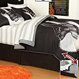 Black & White Guitar Rock N Roll Queen Comforter Set (8 Piece Bed In A Bag)