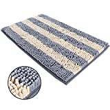 ihoming Pet Mud Rugs Bowl Bed Mat Absorbent Microfiber Chenille Stripe Dog Cat Door Mat Paw Step Clean Rugs, Grey/Beige, 19 by 31 inches