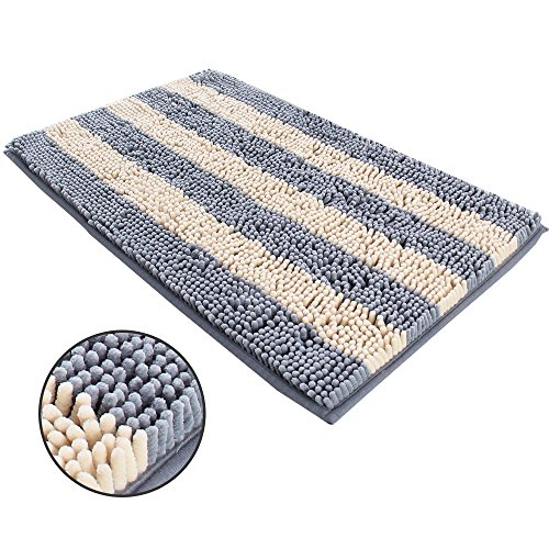 ihoming Pet Mud Rugs Bowl Bed Mat Absorbent Microfiber Chenille Stripe Dog Cat Door Mat Paw Step Clean Rugs, Grey/Beige, 19 by 31 inches by ihoming