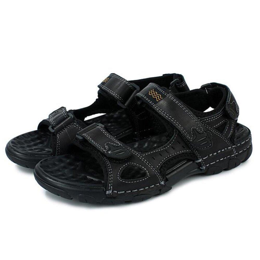 Sandalias De Los Hombres del Peep Toe del Verano Sandalias De Playa Ocasionales Al Aire Libre Que Caminan Sandalias Respirables 40 EU|Black