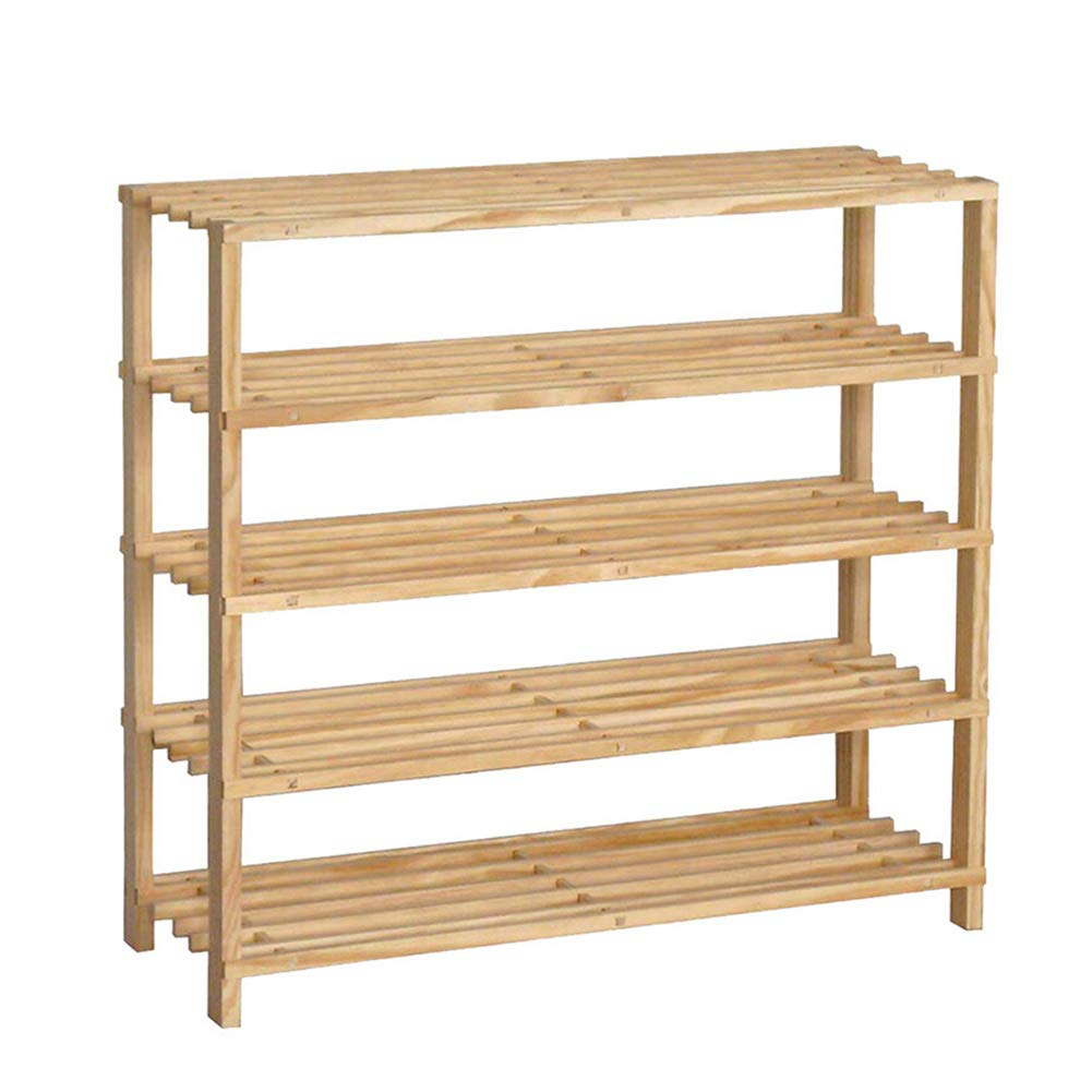 JIANFEI Shoe Shelf Rack Multi-Layer Multifunction Odorless Wear Resistant Preservative Solid Wood (Color : Solid Wood Color, Size : 60x26x73cm)
