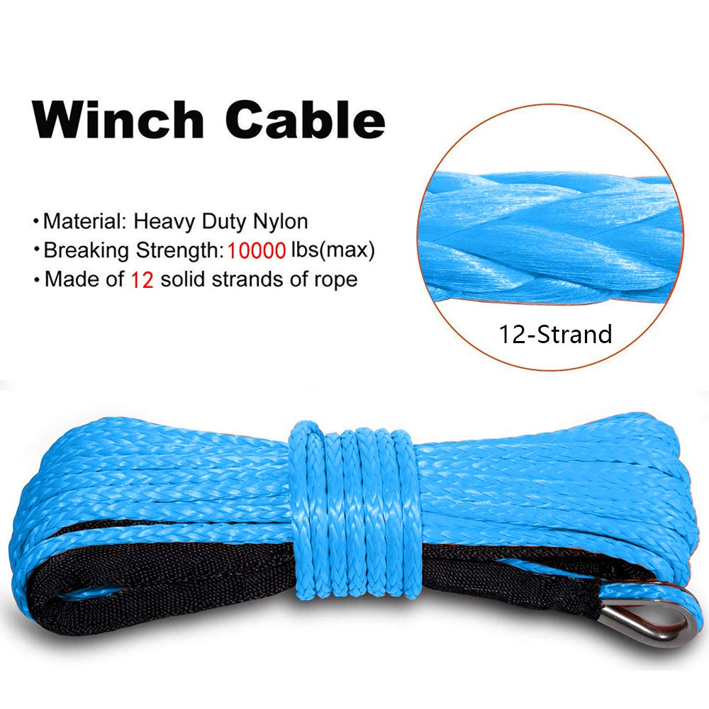 ORCISH 1//4 /× 49ft Synthetic Winch Cable Rope 7000LB