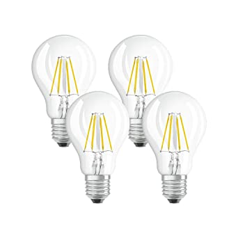 Osram 042865 Bombilla LED E27, 4 W, Blanco 4 Unidades