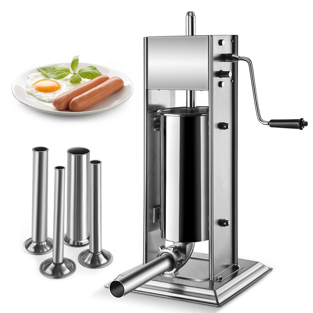 Flexzion Sausage Stuffer Maker Grinder Filler - (5L) 15 Lb Vertical Stainless Steel Two Speed Homemade & Commercial Grade Hand Crank Meat Press Machine Equipment with 4 Stuffing Tube Attachment by Flexzion (Image #2)