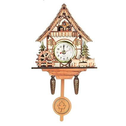 Amazon Com Vintage Mini Cuckoo Wall Clock Bird Time Bell Chic Swing
