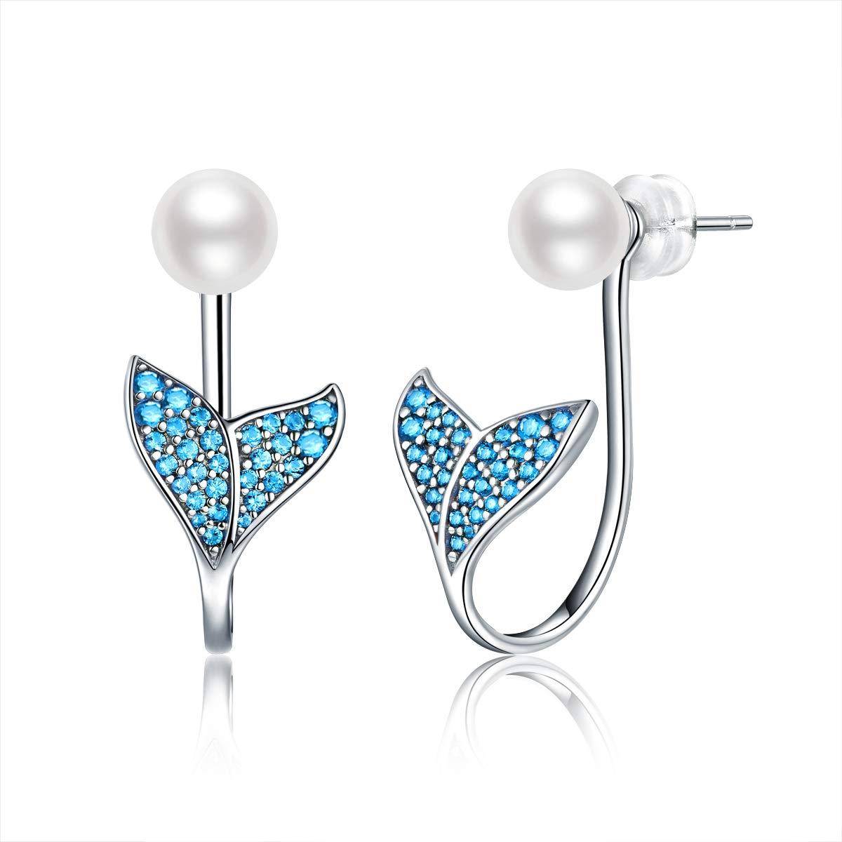 Silver Earrings for Women, Mermaid Tail Earrings 925 Sterling Silver, Hypoallergenic Drop Earrings for Girls, Dangle Earrings Fit Birthday Wedding Anniversary Engagement Valentine's Day FQ0026