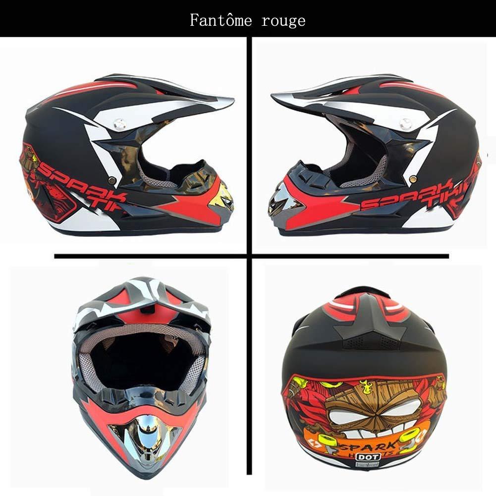 Noir Rouge, S YXCXY Casque de Moto Casque de s/écurit/é Tout Terrain Casque pour Enfants Casque Dot Standard Masque Masque Casque de Course sur Route Sport City Lunettes de Protection Gants