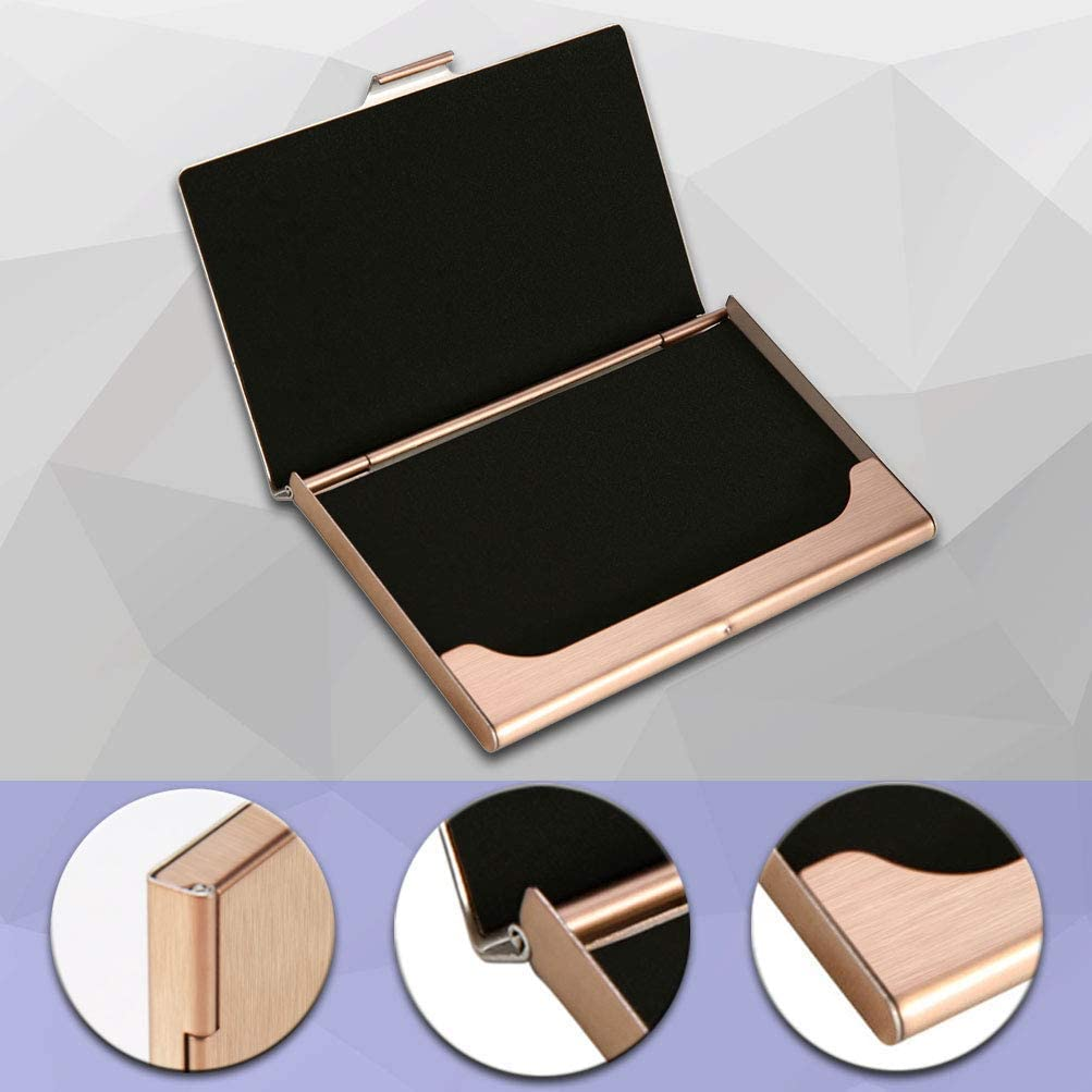CUHAWUDBA 2 Pack Unisex Business Card Holder Stainless Steel Card Container Case for Credit Card Name Card ID Card Rose Gold
