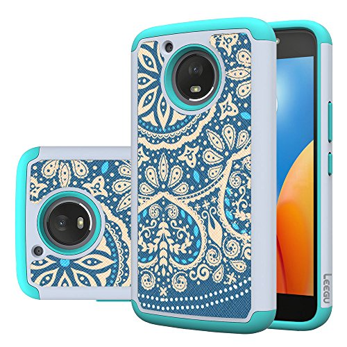 Moto E4 Plus Case, LEEGU [Shock Absorption] Dual Layer Heavy Duty Protective Silicone Plastic Cover Rugged Case for Motorola Moto E Plus 4th Generation (USA Version) - Blue Flower