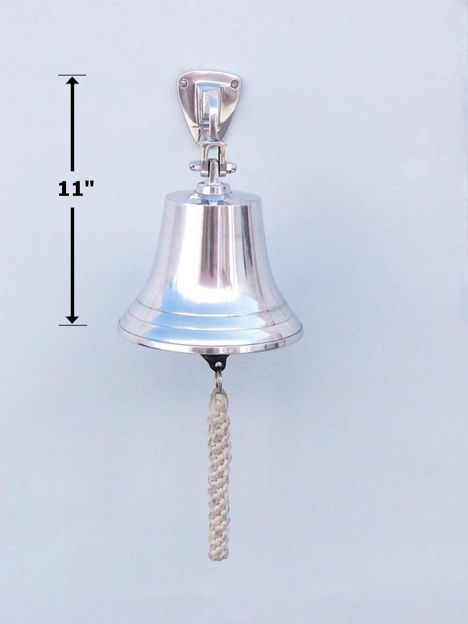 Chrome Hanging Ship's Bell 11'' - Chrome Ship Bell - Nautical Decor - Chrome Boa