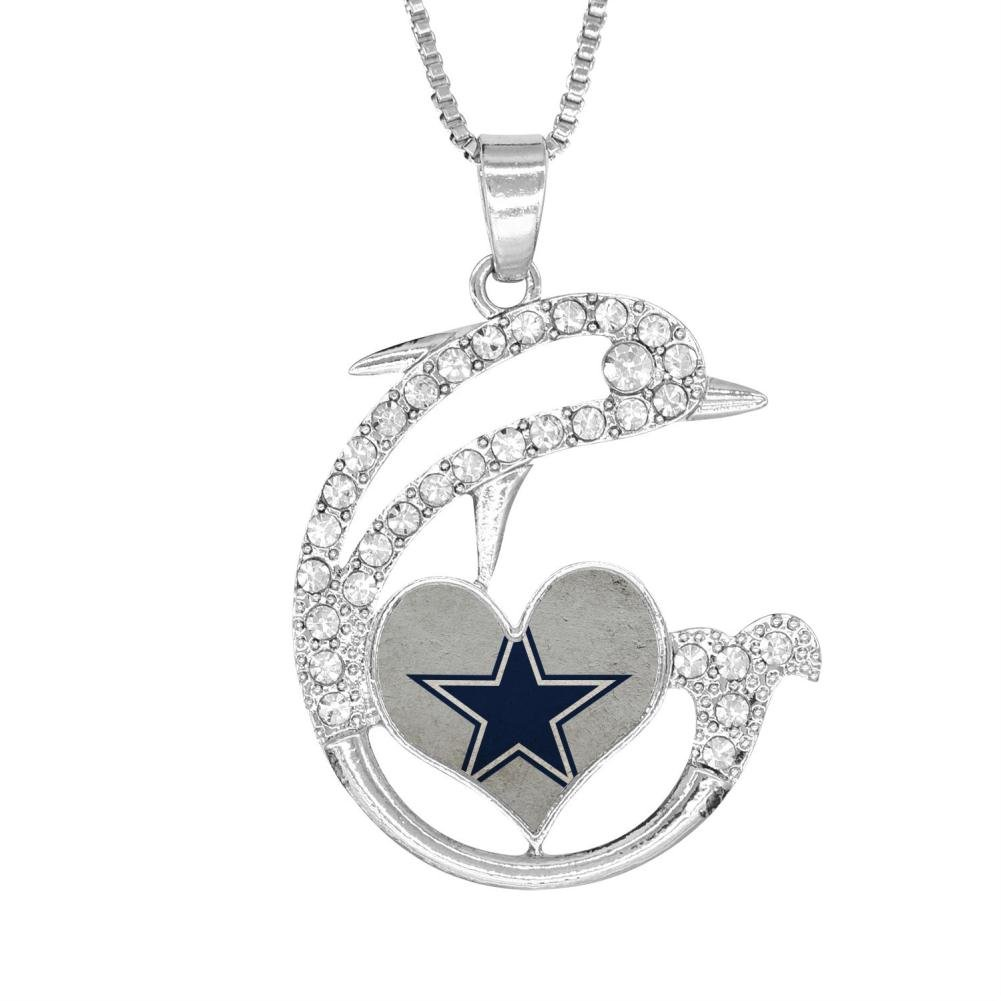 H-Beufun Jumping Dolphin Love Heart Pendant Necklace Dallas Cowboys 3D Printed Jewelry