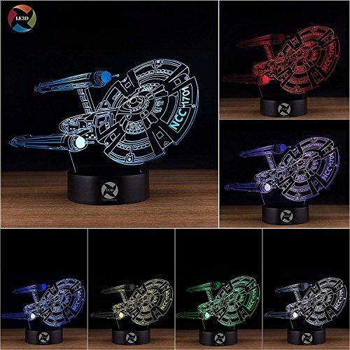 3D Optical Illusion Night Light - 7 LED Color Changing Lamp - Cool Soft Light Safe For Kids - Solution For Nightmares - Star Trek USS Starship Enterprise