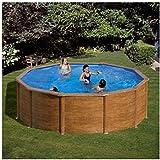 Gre KITPR353W Framed pool Round 10102L Blue,Wood above ground pool - above ground pools (Framed pool, Round, 10102 L, Blue, Wood, EN16582, EN16713, 3800 l/h)