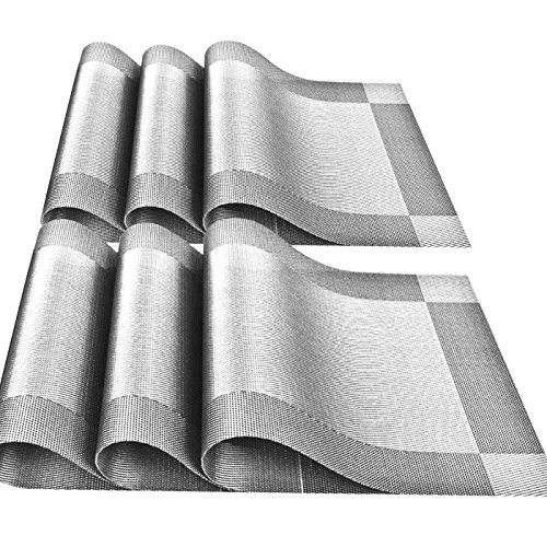 6 Pcs Kitchen PVC Placemats - Deluxe Heat Insulation Stain-resistant Table Mat Protector Anti-skidding Dining Room Decor Jacquard Woven Plastic Vinyl Place Mat,Silver-gray