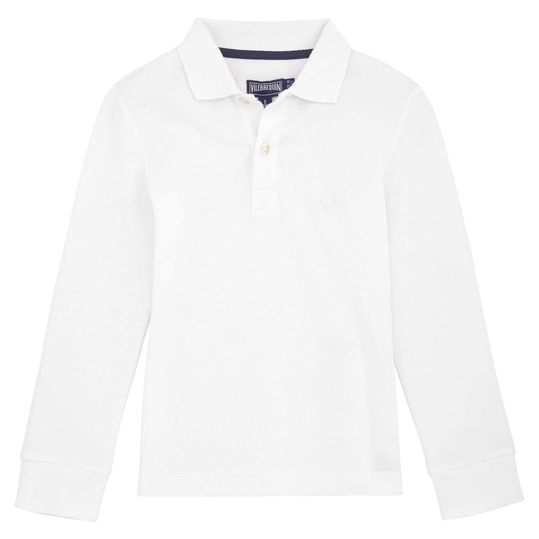Vilebrequin Solid Long Sleeves Cotton Pique Polo - Boys - White - 12