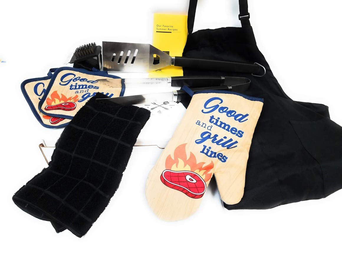 Cwinc, Inc Grill Master Starter Kit with Grill Tools, BBQ Hot Pads, Chef Apron and More! (Nine Items) (Grill Lines)