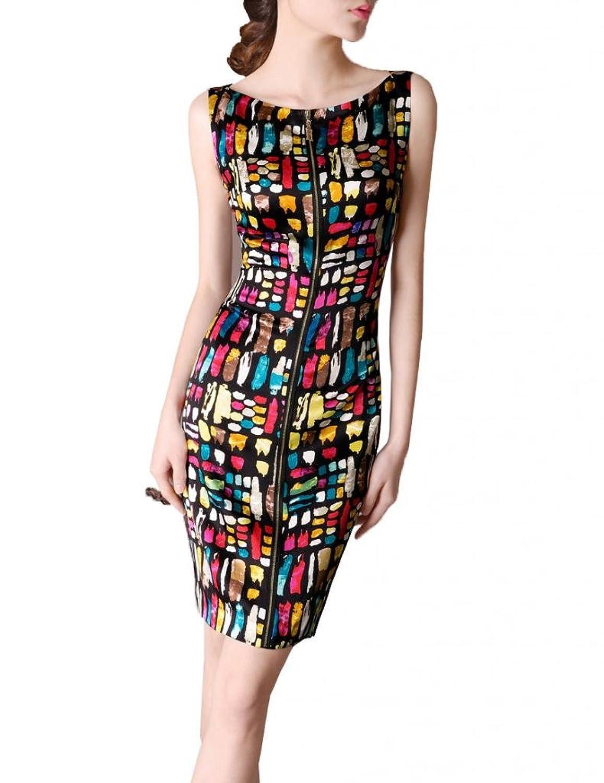 Chuxi Women's Silk Sleeveless Printing Boat Neck Zipped Slim Dress