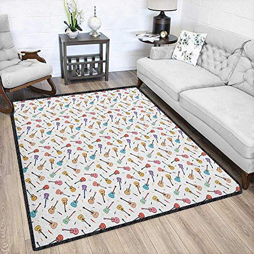 Guitar Modern Abstract Area Rug,Rhythm and Melody Pattern with Colorful Acoustic Guitars Country Music Songs Theme Easy Clean Stain Resistant Multicolor -