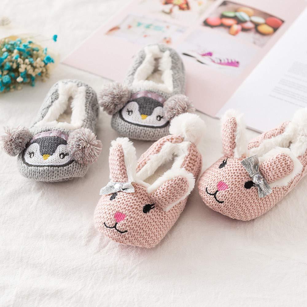 K-youth Primeros Pasos Zapatillas de Estar por Casa de Punto para Niños Invierno Interior Caliente Suave Felpa Antideslizante Slippers Niñas Zapatos Bebe ...