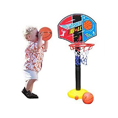 Gfones 43.3inch Children Sports Basketball Stand Loop Adjustable Lifting Indoor Outdoor Toys Toy Basketball: Clothing
