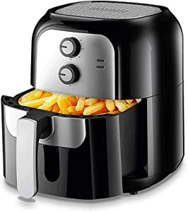 6.4 L Air Fryer Oil Free, Air Cooker and Fryer, with A Adjustable Temperature Control and Timer (Black)